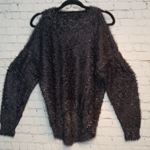 Express Sweater high low fluffy black SP